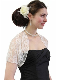 This Ivory Lace Bolero Jacket is elegant and classic, embroided with rose pattern in pencil edge, very soft, perfect match to your wedding gown or a bridemaid dress. This item is popular for Summer Occasions or Weddings.