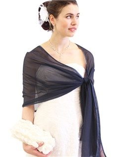 Navy Blue Silk Feel Chiffon Bridal Wrap Wedding Stole 7139CH-NBLUE