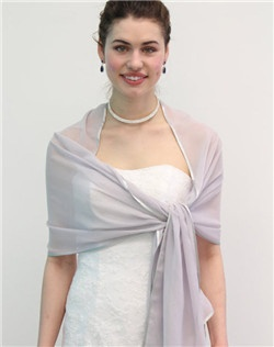 Light Grey Silk Feel Chiffon Bridal Wrap Wedding Stole 7139CH-SILVER. Chiffon SCARF with ribbon trim graces the shoulders, adding a touch of elegance to any look. This special wrap is ideal for brides, bridesmaids, weddings, bridal and formal events during summer.