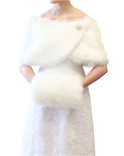 Elegant Ivory Faux Fox Fur Hand Muffs and also in assorted colors, chinchilla grey, black, and ivory.  Adult size.  Child size is also available. Great for cold winter weather and winter weddings. Low Prices Great Quality