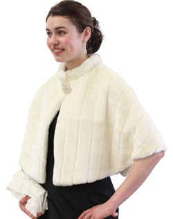 Ivory Faux Fur Mink Cape with embroided strip pattern is perfect for all winter occasions.  Ideal for brides, bridesmaids, weddings and formal events.