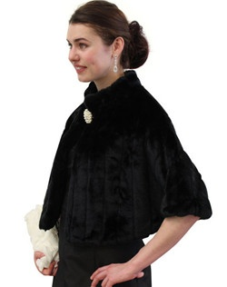 Black Faux Fur Mink Cape with embroided strip pattern is perfect for all winter occasions.  Ideal for brides, bridesmaids, weddings and formal events.