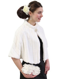White Faux Fur Mink Cape with embroided strip pattern is perfect for all winter occasions.  Ideal for brides, bridesmaids, weddings and formal events.