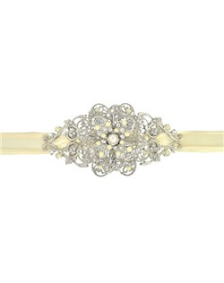 "Soft and romantic is the look this headband - belt conveys with its delicate touches of pearl and crystal in a floral setting. This piece turns any hairstyle into a gorgeous, angelic look or add an romantic antique touch to a dress. Brooch measures 4""."