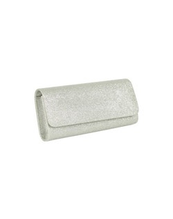 """This streamlined clutch purse is available in sparkling silver or gold fabric. It measures 9"""" wide and 4"""" tall."""