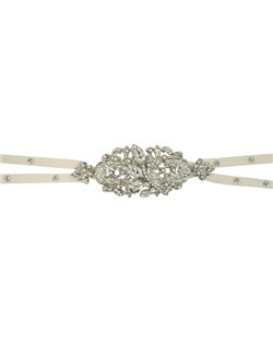 This exquisite accessory does double duty. As a headband is the new tiara! This elegant heirloom piece with its beautiful brooch of pearls and Swarovki crystal, and double ribbons accented with touches of crystals can also be a belt. The piece works wonderfully to compliment your hairstyle or be the final touch to your wedding dress. The ribbon tie ensures a perfect fit. Crystal brooch measures 4.5 inches. By Maria Elena.