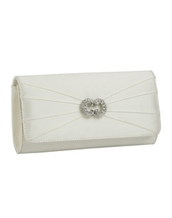 """A perfect match for the Winslet pumps, this handbag is hand crafted with the same luxurious duchesse silk in white or ivory. Pleated fabric and a crystal detail are a sophisticated finish for your look. Measures 8 5/8"" inches wide, 4 1/2"" tall and 2"" deep"""