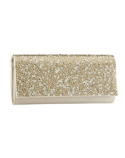 """Gorgeous duchess silk and Austrian crystal encrusted handbag. Classic fold over clutch style has room for all the day's essentials measuring at 8.5"" x 4"". This handbag is the perfect complement to the Benjamin Adams Charlize, Electra, Fox and Gaga shoe styles. Available in ivory, black, champange and fuschia not recommended for dyeing."""