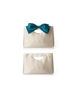Versatile clutch purse in dupioni offers more than one look. Clutch comes with two removable bows: one to match, and the other in the color of your choice. Available in colors to match wedding accessories and bridesmaid dresses by the Dessy Group.