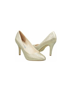 "The David Tutera Rumor bridal shoes are a classic round toe pump with a brand new twist. The pump design features an all over dusting of crystals that glitter and shine. The round toe offers comfort and a sophisticated lady like look. Heel measures 3 1/2"".  Available in Ivory satin."