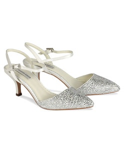 "The Benjamin Adams Gisele Bridal shoes are a gorgeous low heeled bridal shoe with lots of sparkle. The closed toe and open back design are perfect for any time of year. The modest 2 1/4"" heel is comfortable and chic. Available in Ivory Duchess Silk."