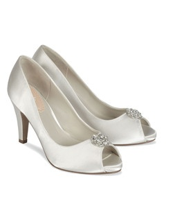 "The Pink Lustre bridal shoes are a classic peep toe pump in satin. The classic design features a platform front for additional comfort and brooch detail for a touch of sparkle. The 3 "" heel is the perfect height. Available in Dyeable White satin."