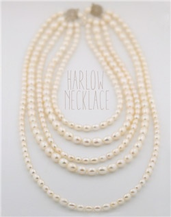 Handmade multi strand freshwater pearl necklace, available in silver or gold with your choice of pearl color.  Free custom sizing.