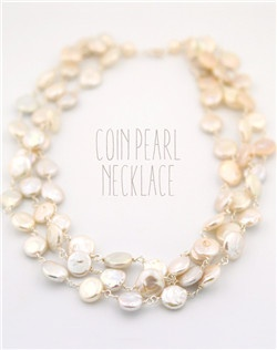 Handmade natural freshwater coin pearl necklace, available in silver or gold.  Free custom sizing.