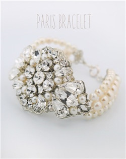 Handmade Swarovski crystal and pearl statement bracelet, available in silver or gold.  Free custom sizing.