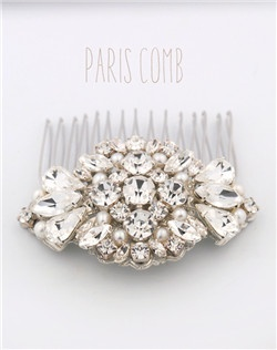 Handmade Swarovski crystal and pearl wedding hair comb, available in silver or gold.
