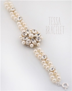 Handmade Swarovski crystal and pearl bracelet, available in silver or gold with your choice of pearl color.  Free custom sizing.