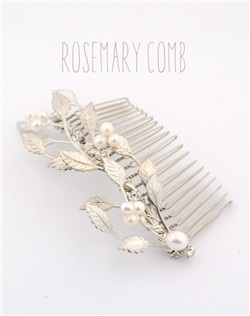 Handmade Swarovski crystal and pearl leaf hair comb, available in silver or gold with your choice of pearl color.