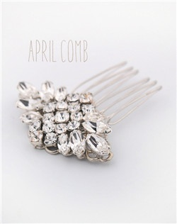 Handmade Swarovski crystal petite bridal hair comb, available in silver or gold.