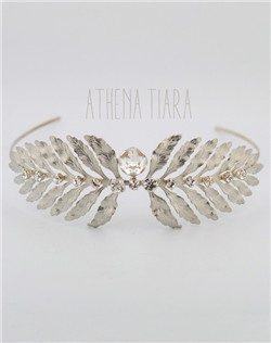 Handmade Swarovski crystal Grecian bridal tiara, available in silver or gold.
