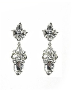 These earrings may be petite but not short on sparkle! Suspended from a crystal embellished tulip post, various shaped Swarovski crystals accent an oval crystal drop.