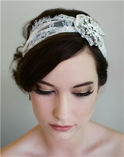 This stretch-on French lace headband is the perfect combination of bohemian style and high glamour. The removable Swarovski stone embellished clip lets you wear your look any number of ways (and each piece individually can TOTALLY be worn after your wedding!) Available in diamond white and pale ivory.