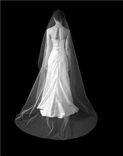Mantilla veil with scattered Swarovski rhinestones. Available in diamond white and pale ivory.
