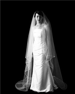"Petal veil with 1/8"" silk ribbon trim. Available in our diamond white or pale ivory."