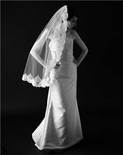 "Classic veil with 3-3/4"" Alencon lace trim. Available in diamond white and pale ivory."