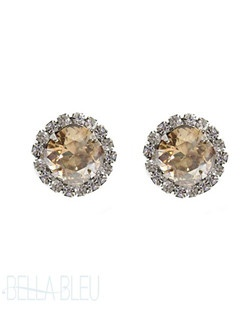 These gold shadow Swarovski cushion cut studs are a classic must have for the jewelry box! A great gift for brides, bridesmaids, and mother of the bride! Available in several colors! Please select from clear, vintage rose, gold shadow, silk, sky, white opal, pacific opal, amethyst, antique pink,  light azore, blue opal, or violet.
