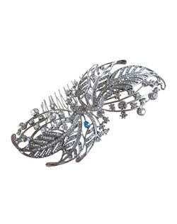 "This beautiful silver plated vintage style hair comb is covered with stunning crystals.  It can be made with a tiffany blue crystal incorporated into its design to act as the bride's ""something blue"" item or be made with all clear crystals."
