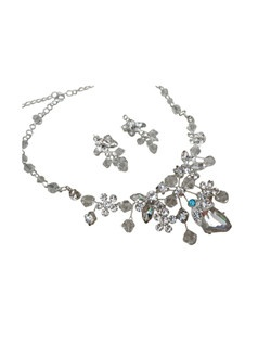 "This beautiful handmade necklace and earring set has a symphony of Swarovski crystals and glass rhinestones. It can be made with a tiffany blue crystal rhinestone incorporated into its design to act as the bride's ""something blue"" item or be made with all clear rhinestones."