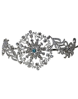 "This gorgeous vintage style side accent headband can be made with a tiffany blue crystal incorporated into its design to act as the bride's ""something blue"" item or be made with all clear crystals."