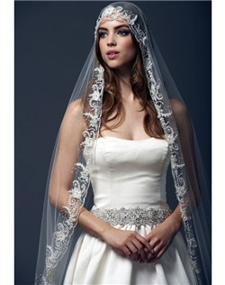 "108"" romantic style veil handcrafted with fine details of embroidery and beaded swarovski crystals.  All veils are customizable to any length in a variety of standard colors."