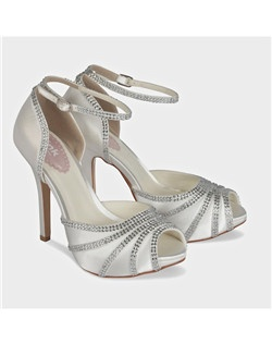 "1 1/4"" covered platform, 4 1/4"" heel, dyeable white silk satin"