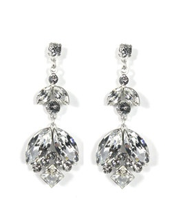 A blossom inspired grouping of navette and round crystals with leaf accents create a beautiful Swarovski crystal bloom.