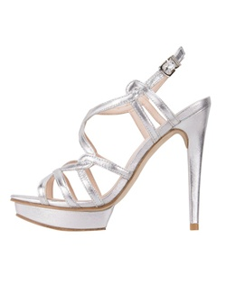 "The Flirty by Pelle Moda is a multi-strap sandal design in silver metallic material. The tall 4 3/4"" heel is balanced with a beautiful  3/4"" platform front. The adjustable strap allows for a customizable fit. Available in Silver Kid Nappa."