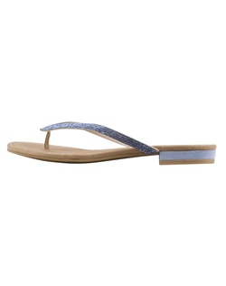 "The Bali by Pelle Moda is a thong style sandal with glittering Sapphire Blue crustal embellishments all along the straps. The heel features the blue shade as well creating a beautiful balance. Heel height measures 3/4"". Available in Sapphire Blue."