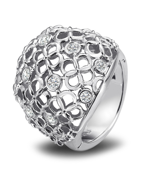 Superfit platinum dome ring illuminated by diamonds, approximately .60ct tw. Features Superfit® Technology for a custom fit.