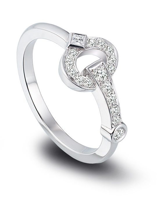 Gumuchian platinum and diamond Gallop ring.