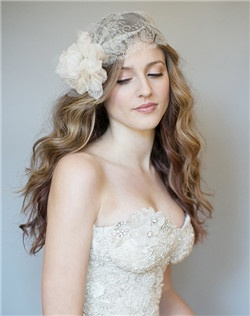 Metallic lace statement cap with organza tulle flower