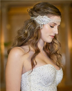 Metallic crochet lace statement side hair ribbon