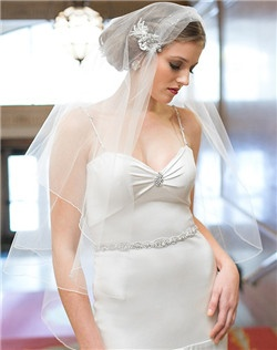 Beaded Metallic Embellished Juliet Veil, Linear beaded belt
