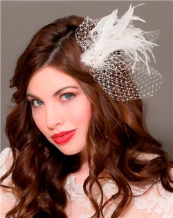 Crystal Feather Fascinator with french net