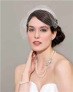 French net face veil,  Statement pearl with crystal motif necklace