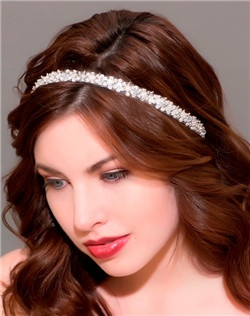 Embroidered chic crystal hair ribbon