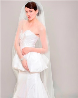 Slim Chapel Veil with Crystal Edge
