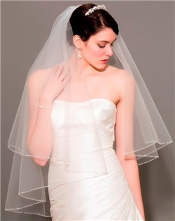 Full Delicate Beaded Edge Veil , Flexible Crystal Tiara