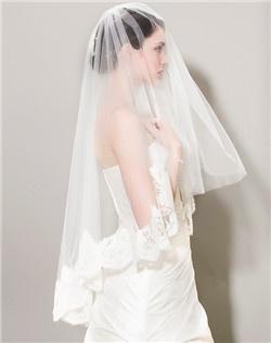 Alencon Lace Trim Veil