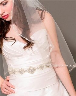Cascade Veil with Pearl Vine Border, Medallion Ribbon Belt